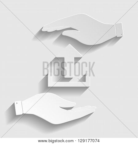 Upload sign. Save or protect symbol by hands. Paper style icon with shadow on gray.