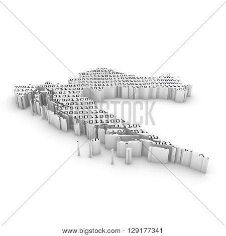 Croatian Technology Industry Concept Image - 3D Illustration Map Outline Of Croatia With Black And W