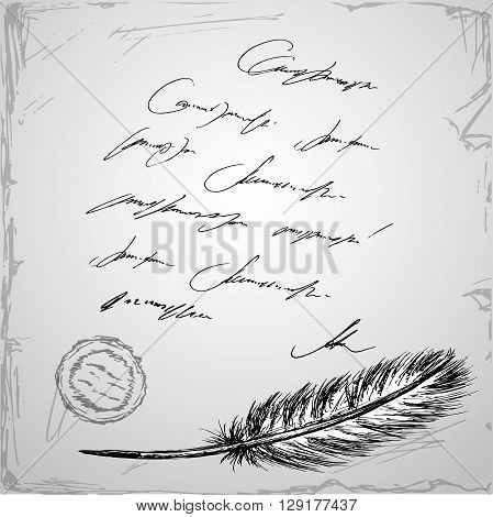Goose feather and old paper with inscription hand drawn vector background