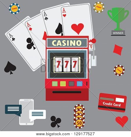 Gambling flat icons set. Casino concept collection. Vector illustration