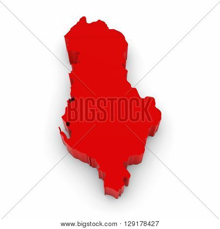 Red 3D Illustration Map Outline Of Albania Isolated On White
