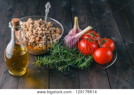 mediterranean cuisine. ingredients for making cannelloni on table
