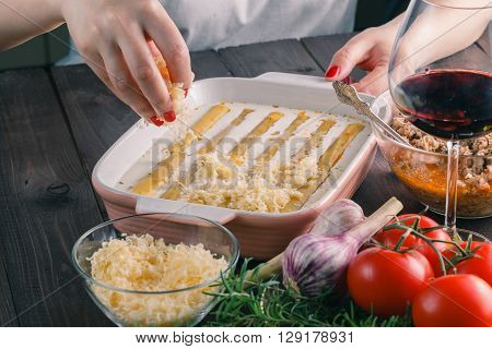 Woman Make Cannelloni With Cheess