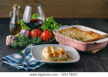 Home Dinner With Lasagne And Wine