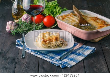 Lasagna With Wine Glass