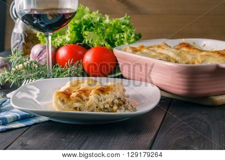 Potion Of Lasagne On Plate