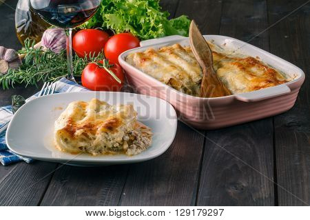 Hot Lasagne On Table