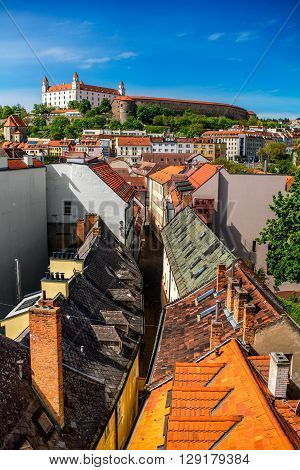 View on Bratislava castle and Bastova street with old houses from Michael's watch tower in Bratislava, Slovakia