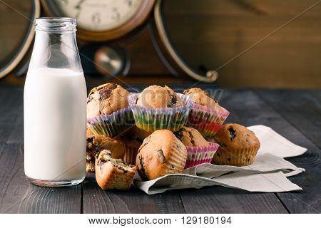 Breakfast With Pastry And Milk In Bottle