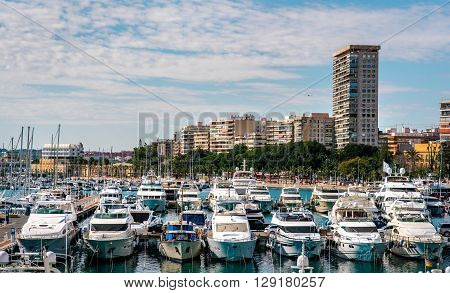 Alicante, Spain- February 16, 2016: View of Alicante skyline and seaport. Costa Blanca Spain. Alicante is a very popular travel destination in Spain