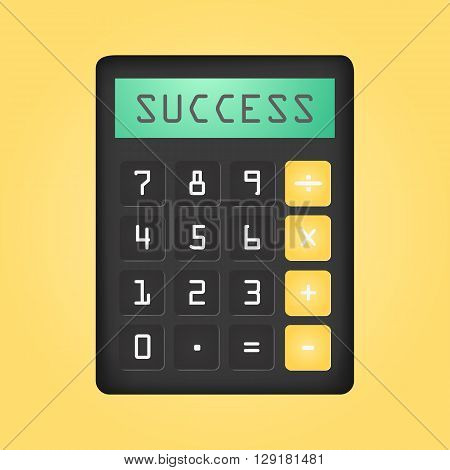 Black Calculator With Word Succes On Display