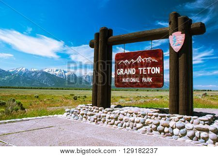 GRAND TETON NATIONAL PARK, WY - JULY 02, 2014. Entry to the Grand Teton National Park, USA