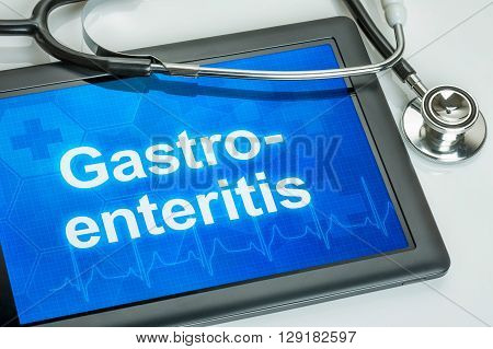 Tablet With The Diagnosis Gastroenteritis On The Display