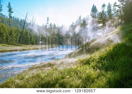 Steam rises from the depths of the earth on the banks of the Gibbon River Yellowstone National Park