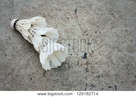 Shuttlecock on cement background at badminton court.