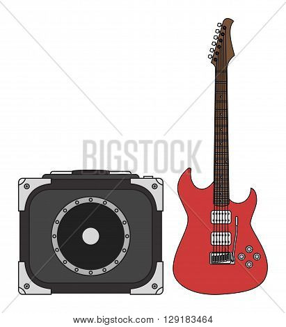 Rock electric guitar and amplifier for concerts and festivals in colors