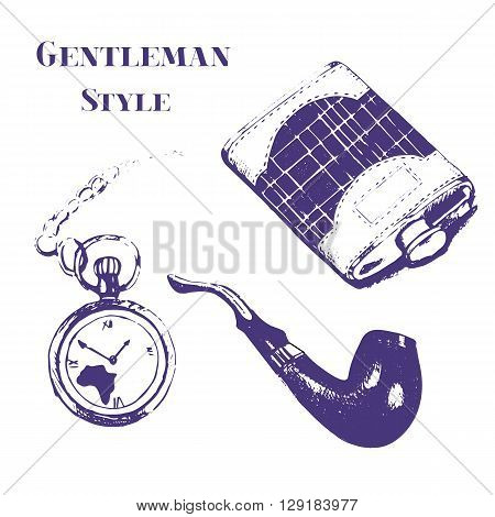 Getleman vector vintage stuff set in grunge style. Flask watch tobacco pipe pocket watch.