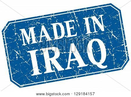 made in Iraq blue square grunge stamp