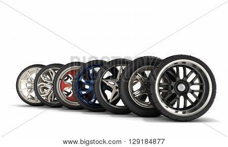 Wheels With Tires Car Standing In A Row Isolated On White 3D Illustrations