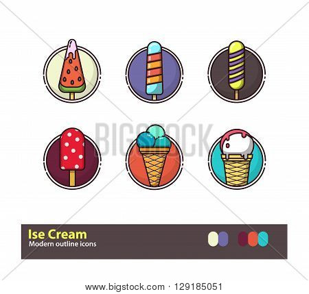 Set of outline ice cream colorful icons. Stock vector.