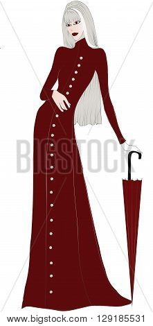 Elegant beautiful lady with  long blonde hair in a long  red coat