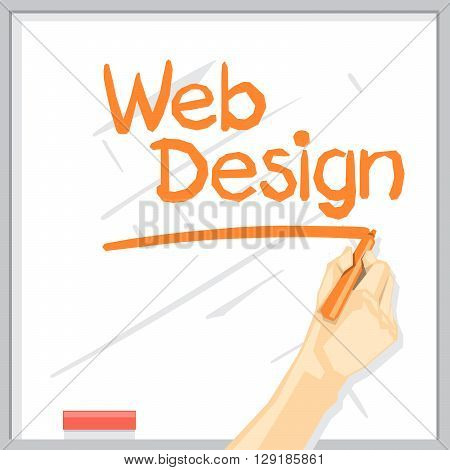 A hand with shadow drawing on a white table with orange color marker web design inscription with underline digital vector image