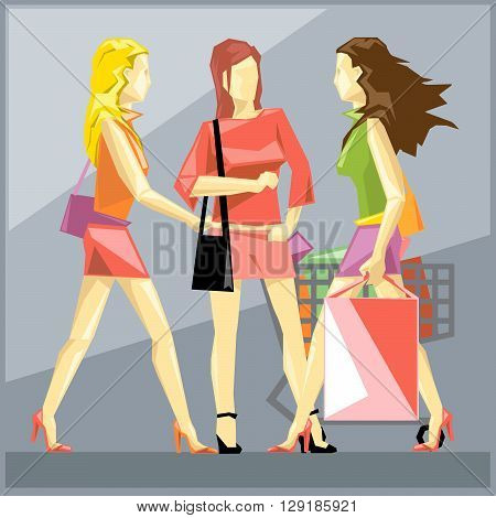 Shopping ladies in red dresses and red and black shoes on a silver sliced background in big pixel style with bags and basket digital vector image