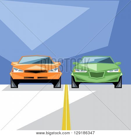 An orange and green cars at start for a racing and an yellow line front view over blue background digital vector image