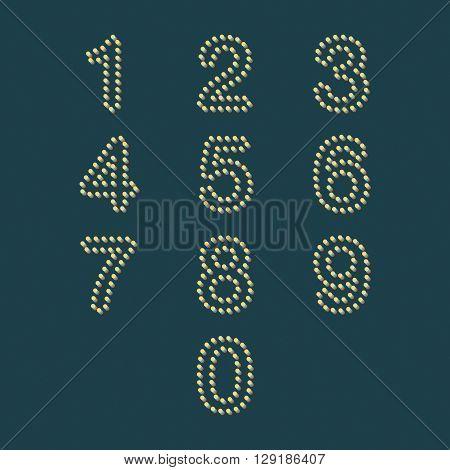 colorful dot number set vectors number set