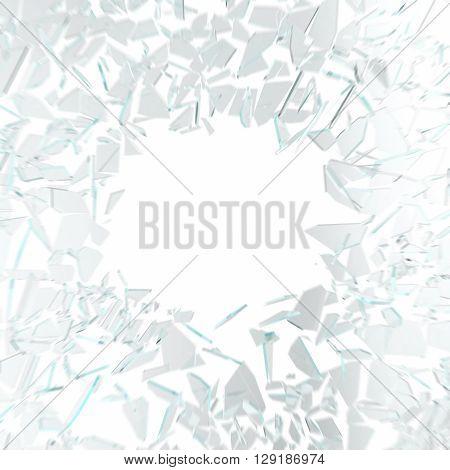 Broken glass in motion isolated on white background. 3d illustration
