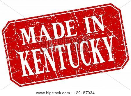 made in Kentucky red square grunge stamp