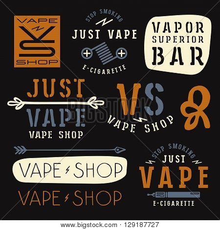 Vapor bar and vape shop labels. Color print on black background