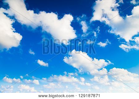 White could and blue sky for background