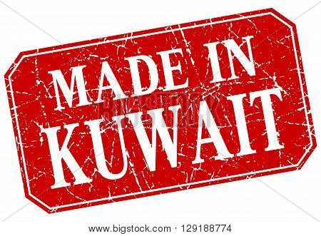 made in Kuwait red square grunge stamp