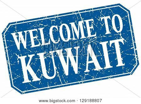 welcome to Kuwait blue square grunge stamp