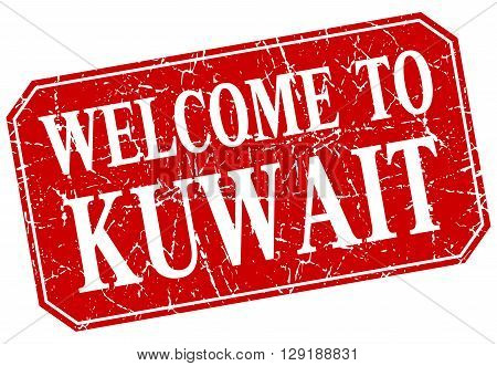 welcome to Kuwait red square grunge stamp