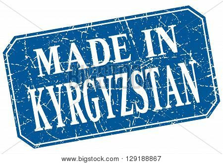 made in Kyrgyzstan blue square grunge stamp