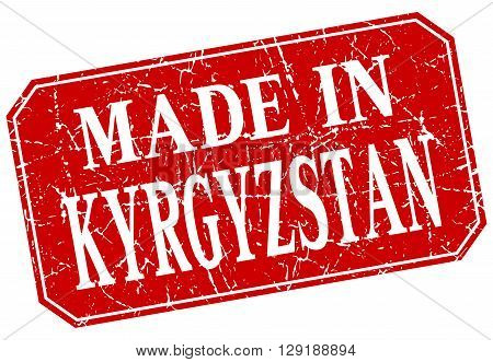 made in Kyrgyzstan red square grunge stamp