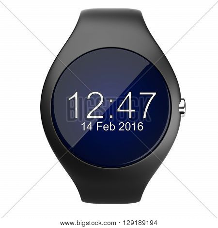 Black smart watch front viev isolated on white background 3d image