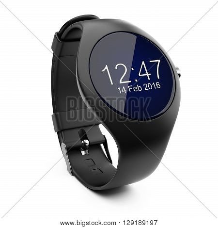 Black smart watch isolated on white background 3d image