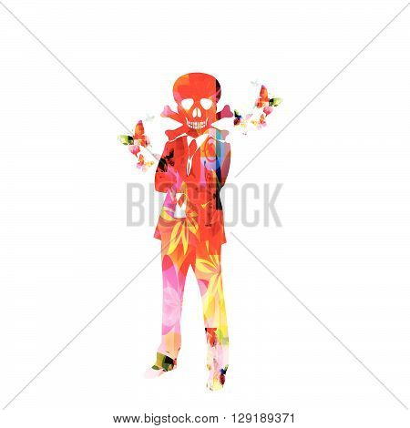 Vector illustration of colorful man with scull