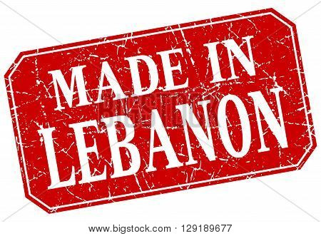 made in Lebanon red square grunge stamp