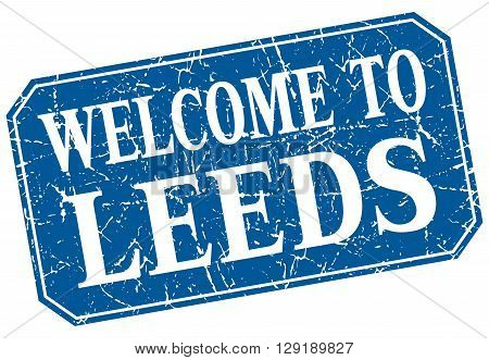 welcome to Leeds blue square grunge stamp
