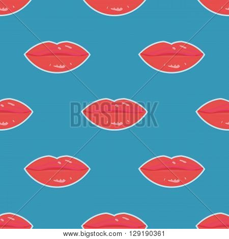 Sweet lips with red lipstick seamless pattern. Beautiful woman lips with red lipstick and gloss. Sweet and sexy lips make-up.