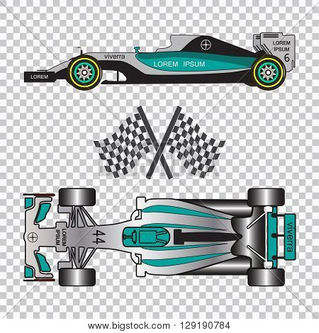 Blue racing car isolated on checkered background. Top view and side view.  Vector illustration