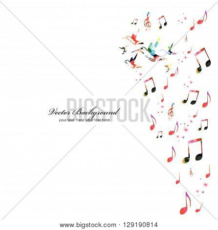 Vector illustration of colorful music notes with hummingbirds