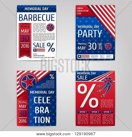 Memorial day flyer set. Red and blue posters. Vector template.