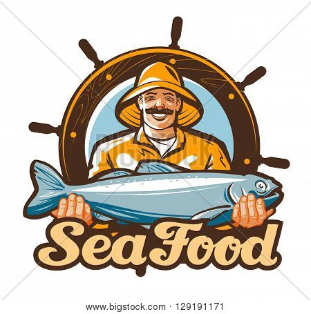 seafood vector logo. fishing or fresh fish icon