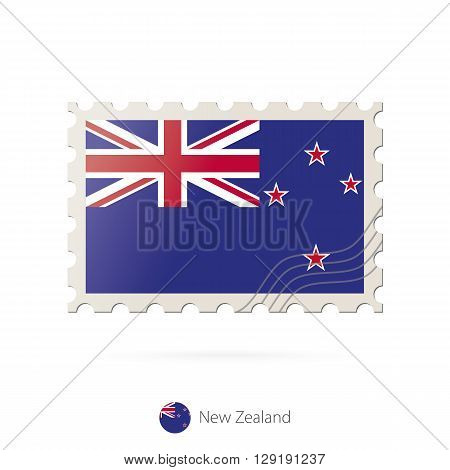 Postage Stamp With The Image Of New Zealand Flag.