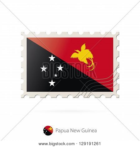 Postage Stamp With The Image Of Papua New Guinea Flag.